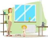 Madre con la hija stock de ilustración