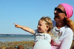 Madre con la sua piccola figlia Fotografia Stock