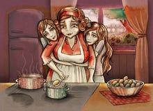 Madre con las hijas gemelas stock de ilustración