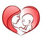Madre con su bebé, corazón, silueta del vector del esquema Foto de archivo libre de regalías