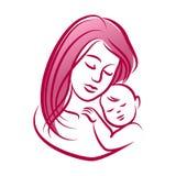 Madre con su bebé, silueta del vector del esquema Fotos de archivo libres de regalías