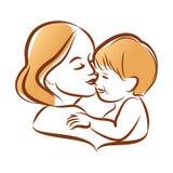 Madre con su bebé, silueta del vector del esquema Imagen de archivo libre de regalías