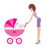 Madre con un carrello illustrazione di stock