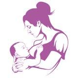 Madre de amamantamiento, leche materna de alimentación del bebé, logotipo de amamantamiento ilustración del vector