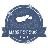 Madre de Dios Island logo sign. Travel rubber stamp with the name and map of island, vector illustration. Can be used as insignia, logotype, label, sticker or Royalty Free Stock Image