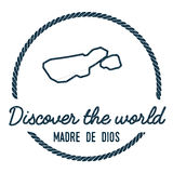 Madre de Dios Island Map Outline. Vintage Discover the World Rubber Stamp with Island Map. Hipster Style Nautical Insignia, with Round Rope Border. Travel Royalty Free Stock Photography