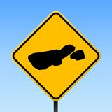 Madre de Dios Island map on road sign. Square poster with Madre de Dios Island island map on yellow rhomb road sign. Vector illustration Stock Photos