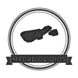 Madre de Dios Island map stamp. Retro distressed insignia. Hipster round badge with text banner. Island vector illustration Royalty Free Stock Photography