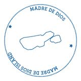 Madre de Dios Island map sticker. Hipster and retro style badge. Minimalistic insignia with round dots border. Island vector illustration Stock Image