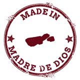 Madre de Dios Island seal. Vintage island map sticker. Grunge rubber stamp with Made in text and map outline, vector illustration Stock Photos