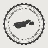 Madre de Dios Island sticker. Hipster round rubber stamp with island map. Vintage passport sign with circular text and stars, vector illustration Stock Photography