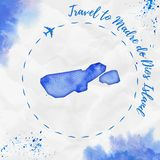 Madre de Dios Island watercolor island map in. Madre de Dios Island watercolor island map in blue colors. Travel to Madre de Dios Island poster with airplane Royalty Free Stock Image