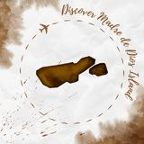 Madre de Dios Island watercolor island map in. Madre de Dios Island watercolor island map in sepia colors. Discover Madre de Dios Island poster with airplane Stock Photography