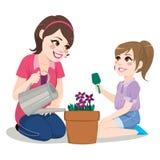 Madre de la hija que cultiva un huerto stock de ilustración