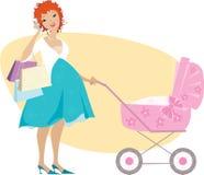Madre de las compras y carro de bebé Fotografía de archivo libre de regalías