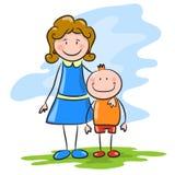Madre del fumetto con il figlio Immagini Stock Libere da Diritti