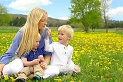 Madre e bambini che si siedono fuori nel prato del fiore del dente di leone Immagine Stock
