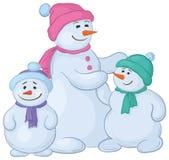 Madre e bambini di Snowmens Immagine Stock