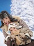 Madre e bambino all'inverno Fotografia Stock Libera da Diritti