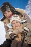 Madre e bambino all'inverno Fotografie Stock Libere da Diritti