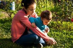 Madre e bambino che giocano con l'erba Fotografia Stock