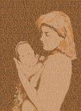 Madre e bambino del testo Immagini Stock