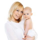 Madre e bambino felici su un fondo bianco Fotografia Stock