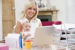 Madre e bambino in Ministero degli Interni con il computer portatile Fotografie Stock