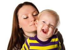 Madre e bambino nello studio Fotografia Stock