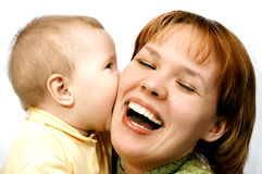 Madre e bambino su bianco Fotografie Stock Libere da Diritti