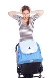 Madre e buggy di bambino furiosi e gridanti Fotografia Stock Libera da Diritti