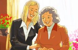 Madre e figlia felici a casa Immagini Stock