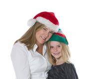 Madre e figlia nell'umore di festa Fotografia Stock Libera da Diritti