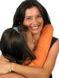 Madre e figlia sopra bianco Fotografia Stock Libera da Diritti