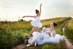 Madre e figlie della ballerina Fotografie Stock Libere da Diritti
