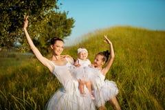 Madre e figlie della ballerina Fotografia Stock