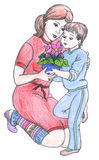 Madre e figlio, dissipanti illustrazione di stock