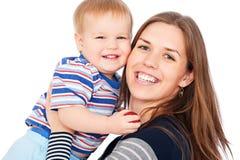 Madre e figlio felici Fotografia Stock
