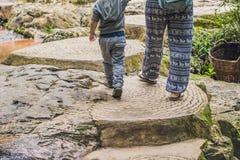 Madre e figlio nei precedenti di bella cascata precipitante a cascata di Datanla nella città Dalat, Vietnam della montagna fotografia stock