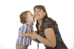 Madre e figlio riccio fotografia stock