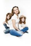 Madre e gemelli rossi Fotografia Stock