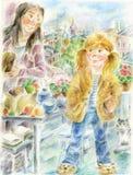 Madre e hija en cocina ilustración del vector
