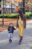 Madre e hijo en parque que caminan y que comunican Foto de archivo