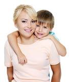 Madre e hijo felices de seis años Fotos de archivo