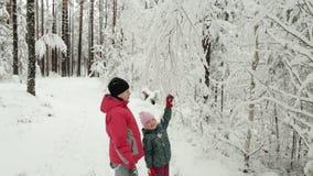 Madre e neonata felici divertendosi sulla passeggiata nella foresta nevosa di inverno video d archivio