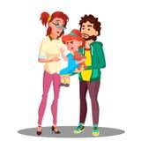Madre e padre Calming Down che un piccolo bambino gridante Vector Illustrazione isolata royalty illustrazione gratis
