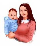 Madre e piccola cura del bambino del bambino, scuola materna del bambino, maternità, vita, sviluppo del bambino, cartolina d'augu royalty illustrazione gratis