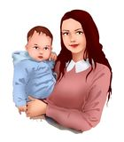 Madre e piccola cura del bambino del bambino, scuola materna del bambino, maternit?, vita, sviluppo del bambino, cartolina d'augu illustrazione di stock