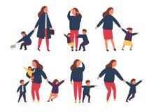 Madre esaurita stanca con i bambini impertinenti Genitori con i bambini Illustrazione di vettore immagine stock libera da diritti