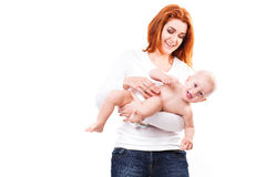Madre felice con il bambino isolato Fotografia Stock